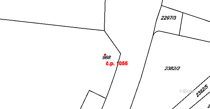 Holešovice 1055, Praha na parcele st. 968 v KÚ Holešovice, Katastrální mapa