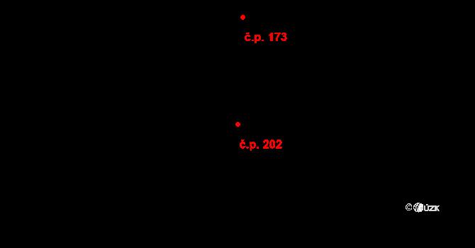 Dražkovice 202, Pardubice na parcele st. 596 v KÚ Dražkovice, Katastrální mapa