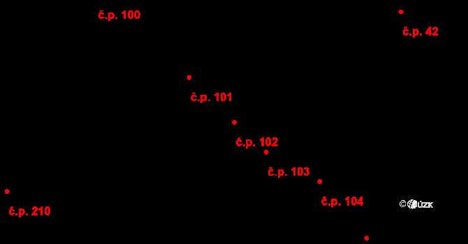 Blatná 102 na parcele st. 154 v KÚ Blatná, Katastrální mapa