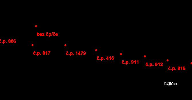 Vršovice 416, Praha na parcele st. 1079 v KÚ Vršovice, Katastrální mapa