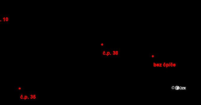 Prostřední Lhota 38, Chotilsko na parcele st. 293 v KÚ Prostřední Lhota, Katastrální mapa