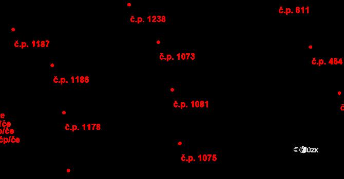 Žižkov 1081, Praha na parcele st. 1043 v KÚ Žižkov, Katastrální mapa