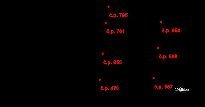 Nivnice 855 na parcele st. 1871/1 v KÚ Nivnice, Katastrální mapa