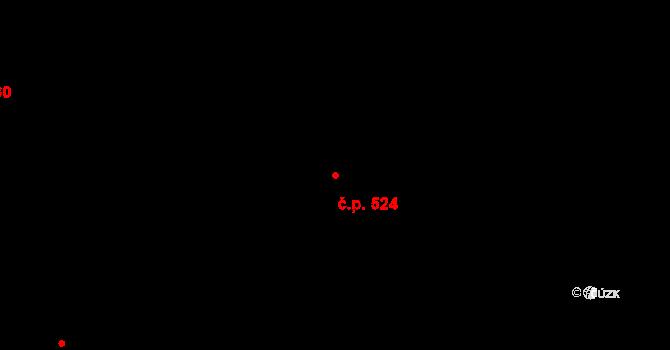 Stará Paka 524 na parcele st. 806 v KÚ Stará Paka, Katastrální mapa