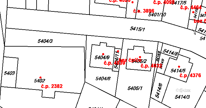 Jihlava 4539 na parcele st. 5404/9 v KÚ Jihlava, Katastrální mapa