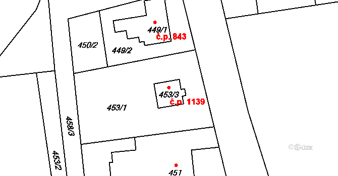 Stonava 1139 na parcele st. 453/3 v KÚ Stonava, Katastrální mapa