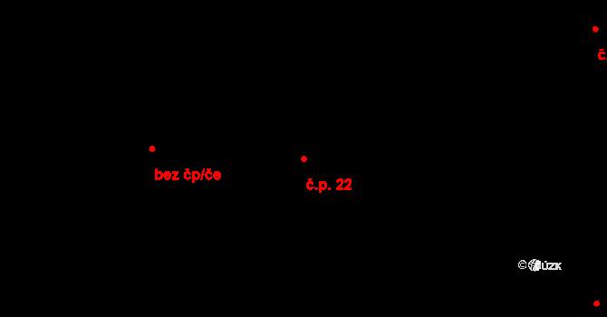 Kunětice 22 na parcele st. 22 v KÚ Kunětice, Katastrální mapa