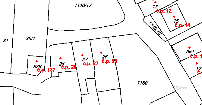 Rožmberk nad Vltavou 26 na parcele st. 26 v KÚ Rožmberk nad Vltavou, Katastrální mapa