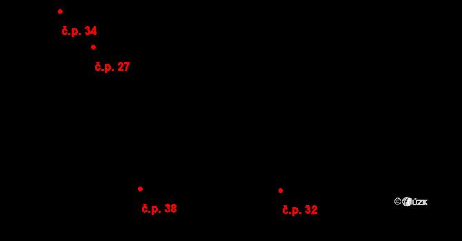 Husí Lhota 38 na parcele st. 70/2 v KÚ Husí Lhota, Katastrální mapa