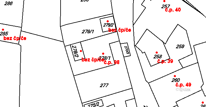 Nová Ves u Nového Města na Moravě 98 na parcele st. 278/1 v KÚ Nová Ves u Nového Města na Moravě, Katastrální mapa