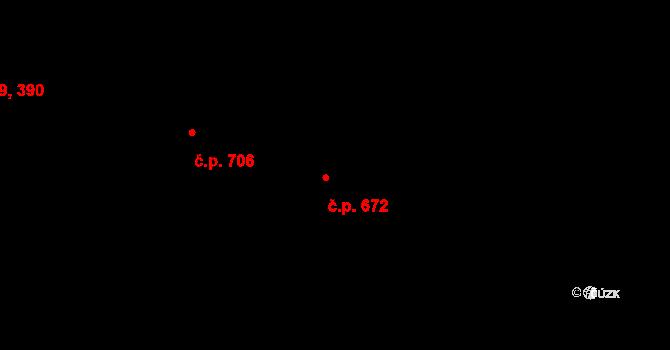 Letňany 672, Praha na parcele st. 629/18 v KÚ Letňany, Katastrální mapa