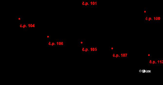 Vepřová 105 na parcele st. 173 v KÚ Vepřová, Katastrální mapa