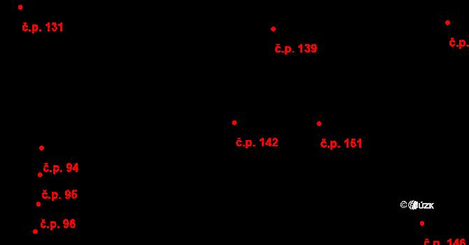 Počerny 142, Karlovy Vary na parcele st. 233 v KÚ Počerny, Katastrální mapa