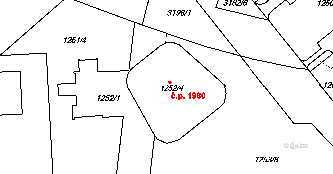 Krč 1980, Praha na parcele st. 1252/4 v KÚ Krč, Katastrální mapa