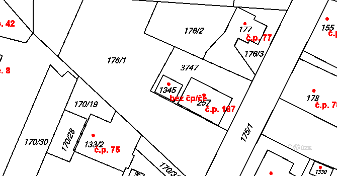 Velké Popovice 96049898 na parcele st. 1345 v KÚ Velké Popovice, Katastrální mapa
