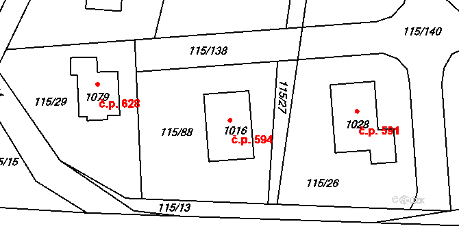 Mladcová 594, Zlín na parcele st. 1016 v KÚ Mladcová, Katastrální mapa