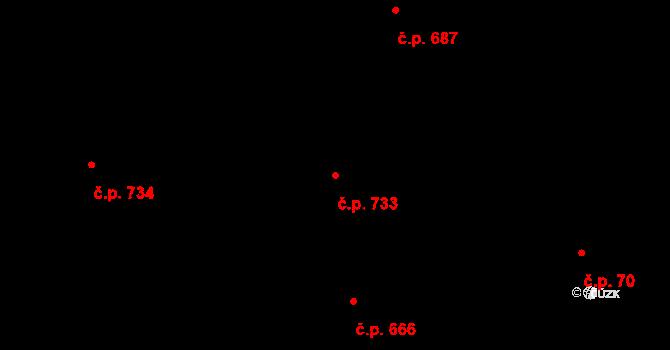 Prštné 733, Zlín na parcele st. 1183/1 v KÚ Prštné, Katastrální mapa