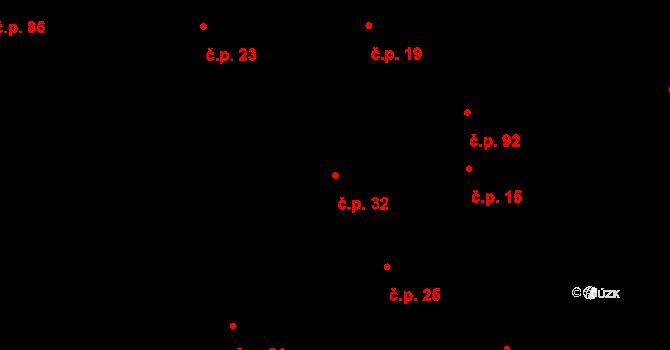 Davle 32 na parcele st. 30 v KÚ Davle, Katastrální mapa