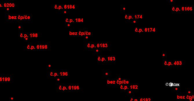 Mladcová 6183, Zlín na parcele st. 262/1 v KÚ Mladcová, Katastrální mapa