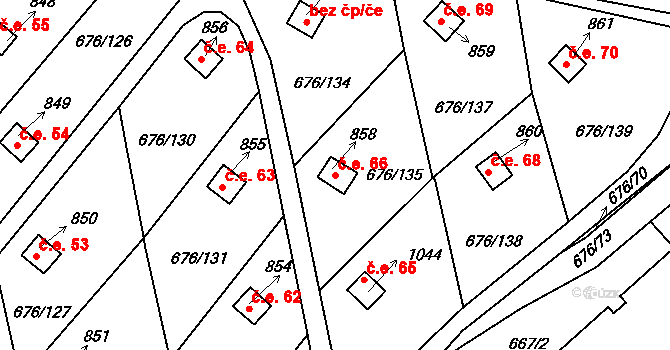 Prštné 66, Zlín na parcele st. 858 v KÚ Prštné, Katastrální mapa