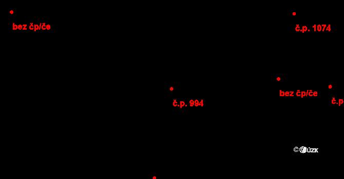 Rozdělov 994, Kladno na parcele st. 1676 v KÚ Rozdělov, Katastrální mapa