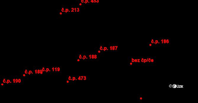 Buštěhrad 187 na parcele st. 664 v KÚ Buštěhrad, Katastrální mapa