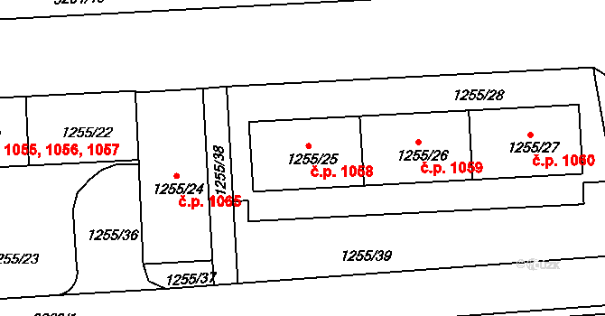 Krč 1058, Praha na parcele st. 1255/25 v KÚ Krč, Katastrální mapa
