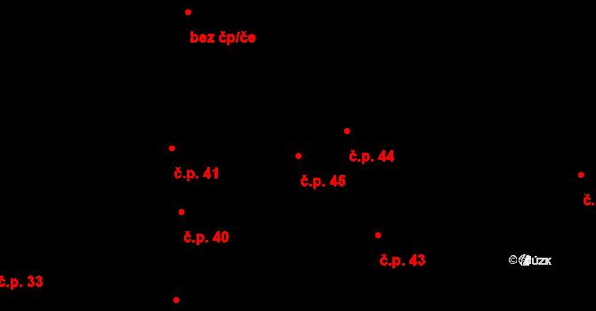 Rovná 45 na parcele st. 2 v KÚ Rovná u Strakonic, Katastrální mapa