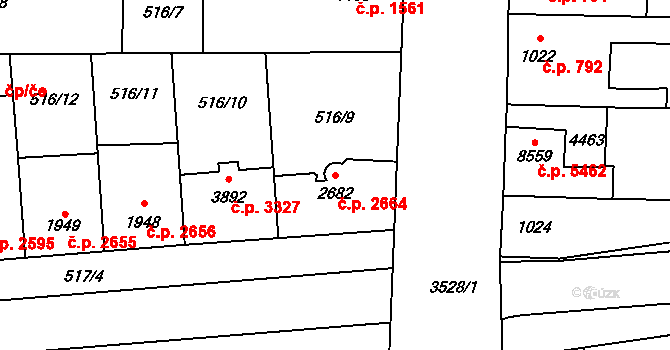 Zlín 2664 na parcele st. 2682 v KÚ Zlín, Katastrální mapa