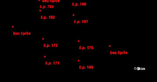 Svítkov 170, Pardubice na parcele st. 170 v KÚ Svítkov, Katastrální mapa