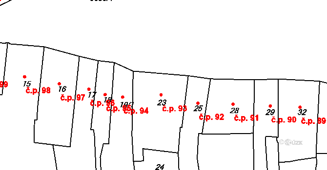 Kutná Hora-Vnitřní Město 93, Kutná Hora na parcele st. 23 v KÚ Kutná Hora, Katastrální mapa