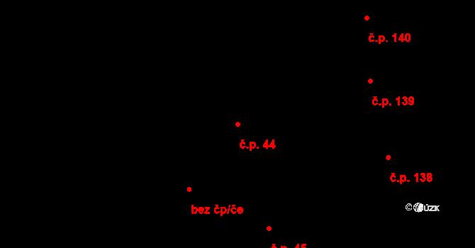 Vrchlabí 44 na parcele st. 44/1 v KÚ Vrchlabí, Katastrální mapa