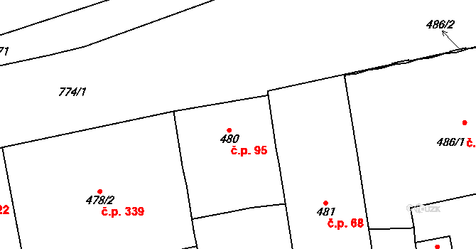 Karlín 95, Praha na parcele st. 480 v KÚ Karlín, Katastrální mapa