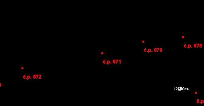 Malenovice 571, Zlín na parcele st. 720 v KÚ Malenovice u Zlína, Katastrální mapa
