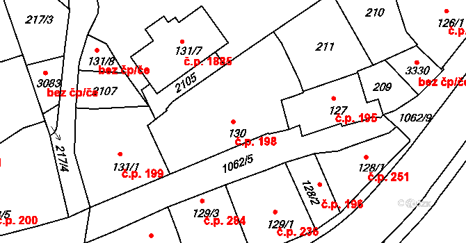 Brandýs nad Labem 198, Brandýs nad Labem-Stará Boleslav na parcele st. 130 v KÚ Brandýs nad Labem, Katastrální mapa