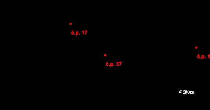 Rodvínov 37 na parcele st. 20 v KÚ Rodvínov, Katastrální mapa