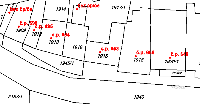 Újezd u Brna 653 na parcele st. 1915 v KÚ Újezd u Brna, Katastrální mapa