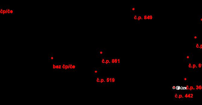 Podivín 861 na parcele st. 1287 v KÚ Podivín, Katastrální mapa