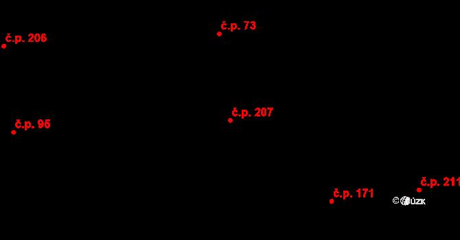 Bratronice 207 na parcele st. 501 v KÚ Bratronice u Kladna, Katastrální mapa