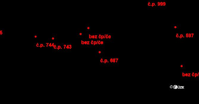 Střešovice 687, Praha na parcele st. 1771 v KÚ Střešovice, Katastrální mapa