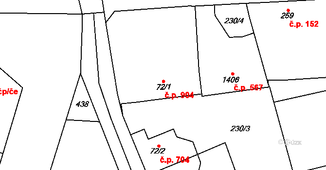 Kukleny 904, Hradec Králové na parcele st. 72/1 v KÚ Kukleny, Katastrální mapa