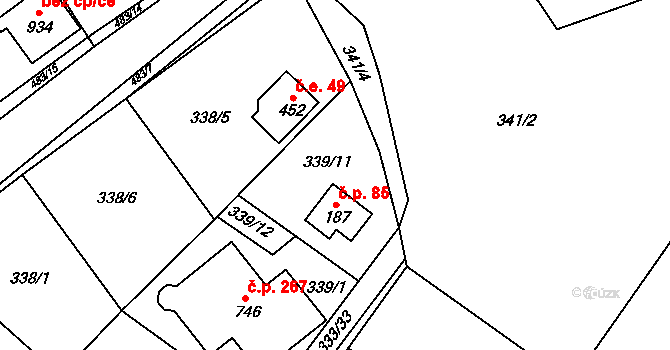 Řež 85, Husinec, Katastrální mapa