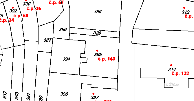 Vrchoslavice 140 na parcele st. 395 v KÚ Vrchoslavice, Katastrální mapa