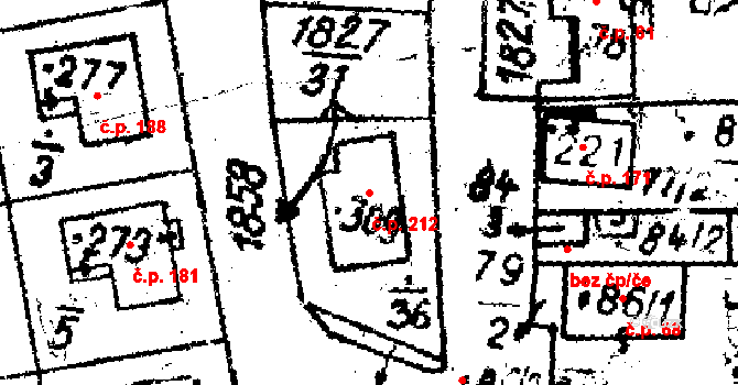 Studánka 212 na parcele st. 309 v KÚ Studánka u Tachova, Katastrální mapa