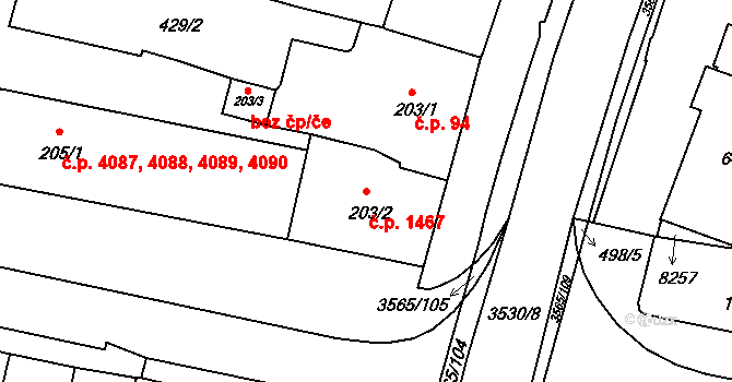 Zlín 1467 na parcele st. 203/2 v KÚ Zlín, Katastrální mapa