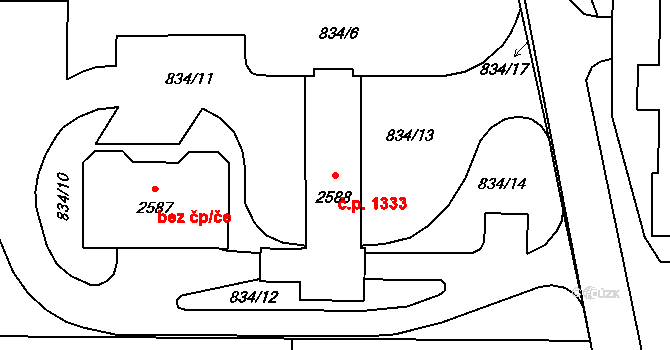 Stříbro 1333 na parcele st. 2588 v KÚ Stříbro, Katastrální mapa