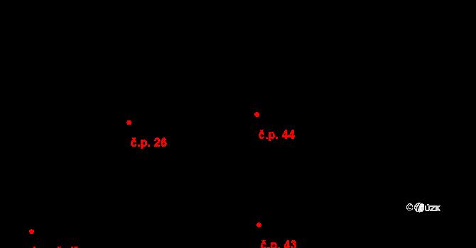 Dolní Počernice 44, Praha na parcele st. 379/2 v KÚ Dolní Počernice, Katastrální mapa