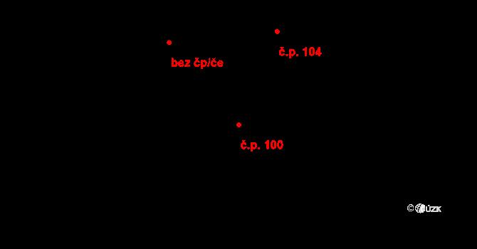 Nové Sedlice 100 na parcele st. 128 v KÚ Nové Sedlice, Katastrální mapa