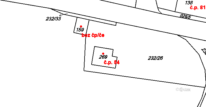 Zderaz 54 na parcele st. 269 v KÚ Zderaz, Katastrální mapa