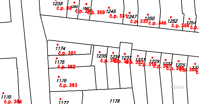 Újezd u Brna 350 na parcele st. 1235 v KÚ Újezd u Brna, Katastrální mapa
